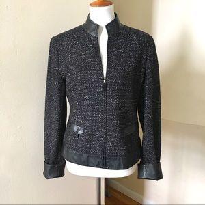 Lafayette 148 Wool Tweed Faux Leather Jacket 10